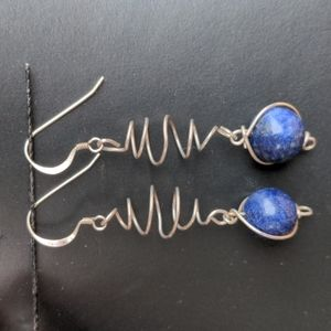 Sterling 925 vintage hand made dangle earrings with lapis lazuli